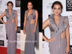 dia mirza grey saree ruffle blouse