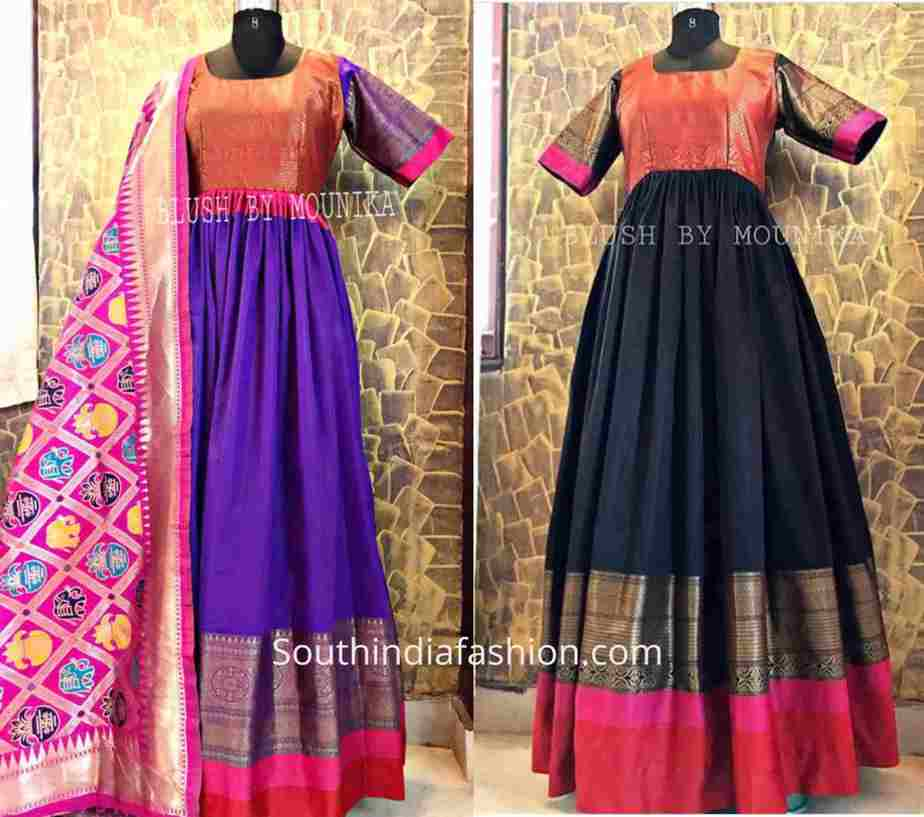 Anarkali gowns made from silk sarees