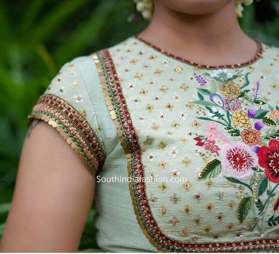 floral embroidered saree blouse (1)