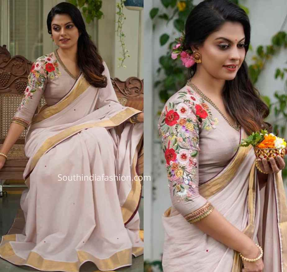 floral embroidered saree blouse by label m (1)