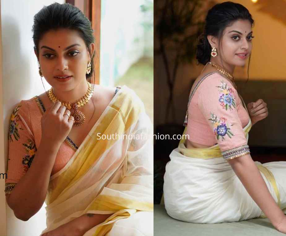 floral embroidered saree blouse (3)