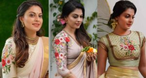 floral work saree blouse designs