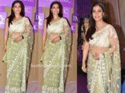 kajol green net saree imc exhibition