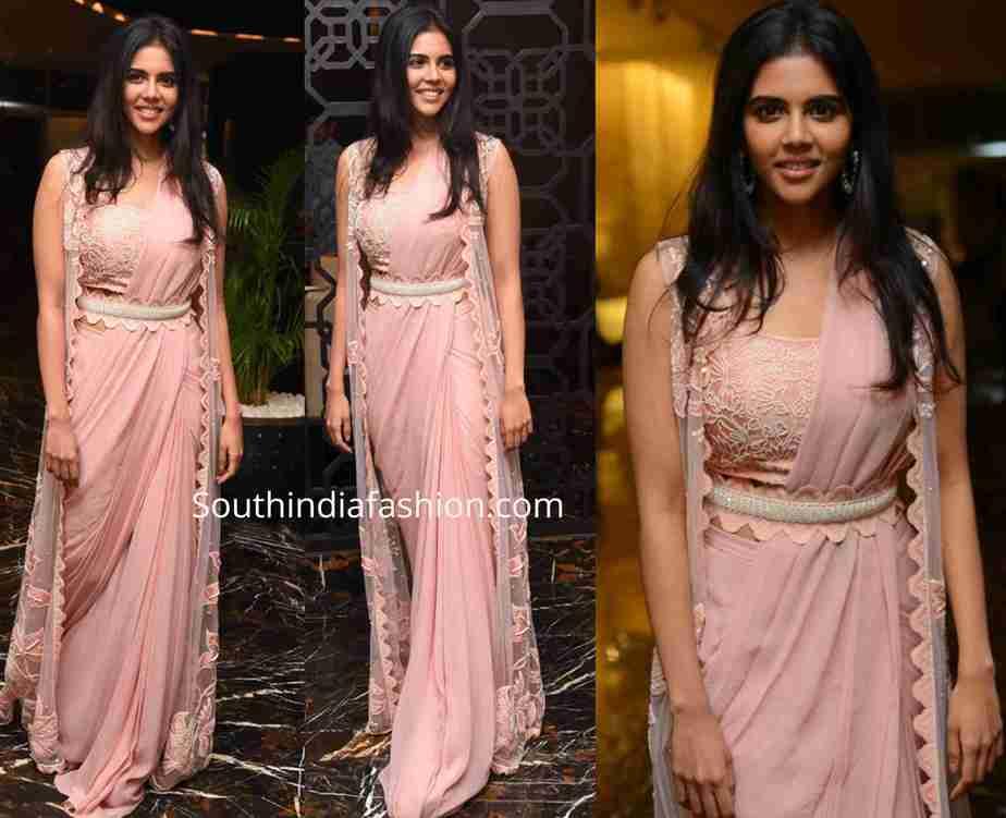 kalyani priyadarshan pink saree with jacket ranarangam pre release