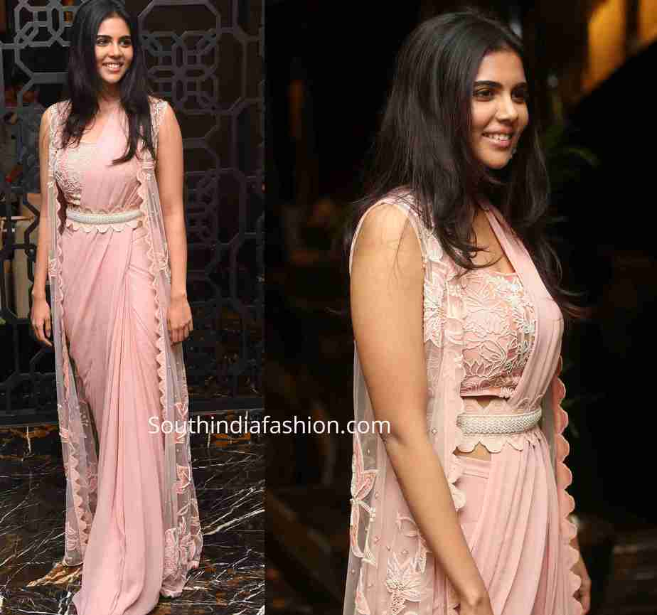 kalyani priyadarshan pink saree with jacket (1)