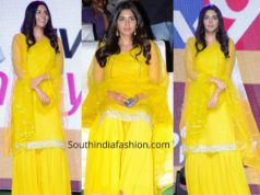 kalyani priyadarshan yellow sharara at ranarangam trailer launch