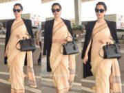 kangana ranaut airport saree with trench coat