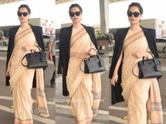 kangana ranaut airport saree with trench coat
