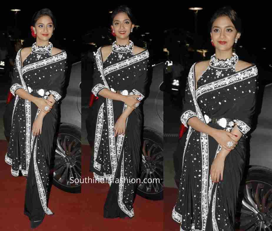 keerthy suresh black saree siima awards 2019 (1)