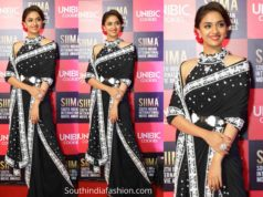 keerthy suresh stylISH black saree siima 2019