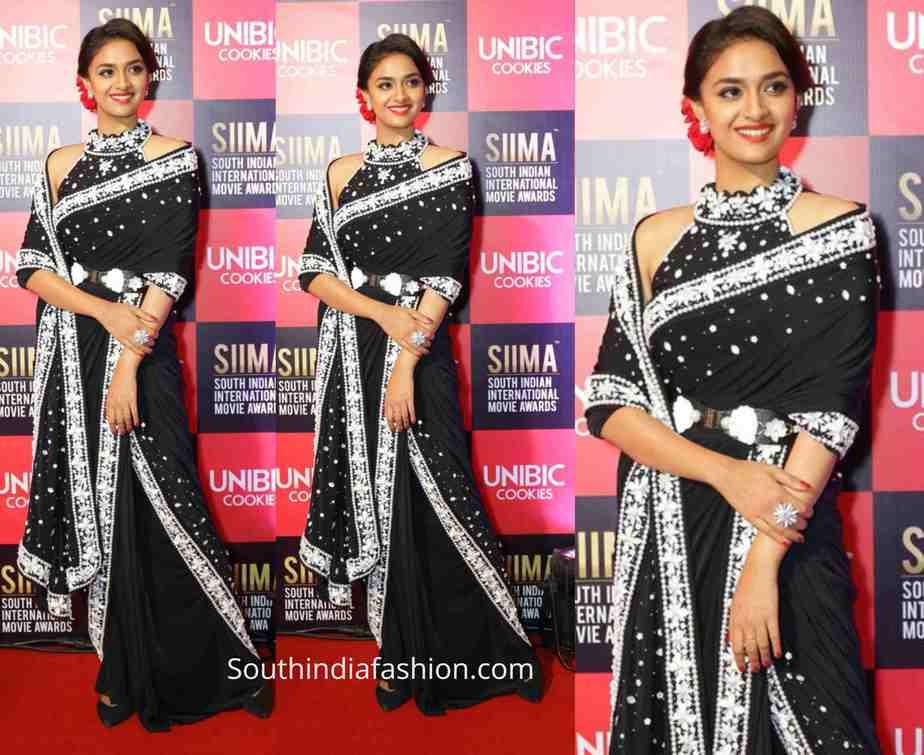keerthy suresh stylISH black saree siima 2019