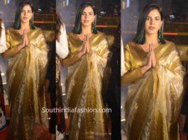 kriti kulhari gold tissue saree mission mangal promotions
