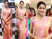 lavanya tripathi pattu saree at swaroopa reddy boutique launch