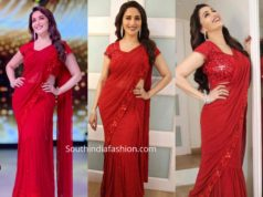 madhuri dixit red lehenga saree