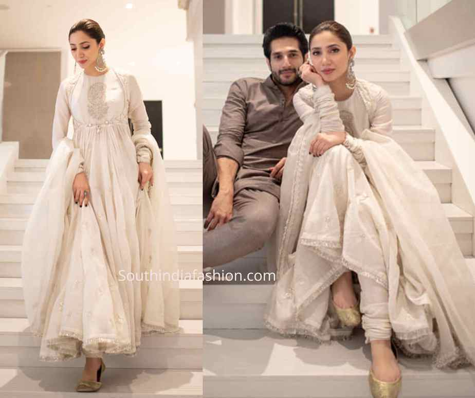 mahira khan white anarkali
