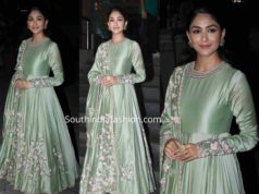 mrunal thakur mint green anarkali batla house promotions