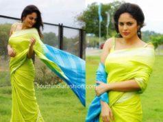 nandita swetha green linen saree (1)