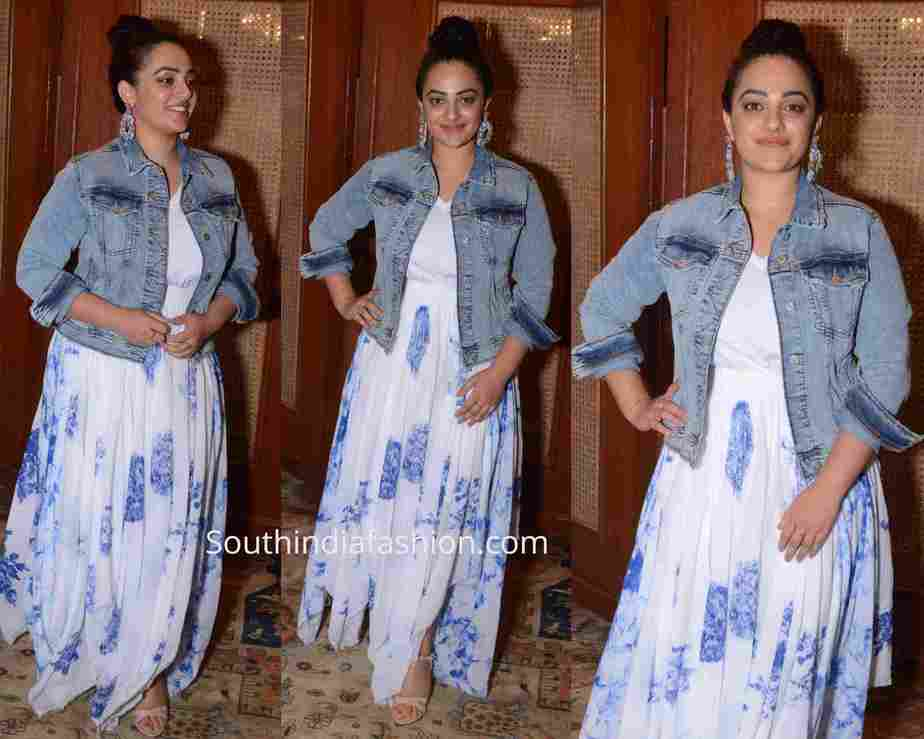 nitya menon white dress mission mangal promotions