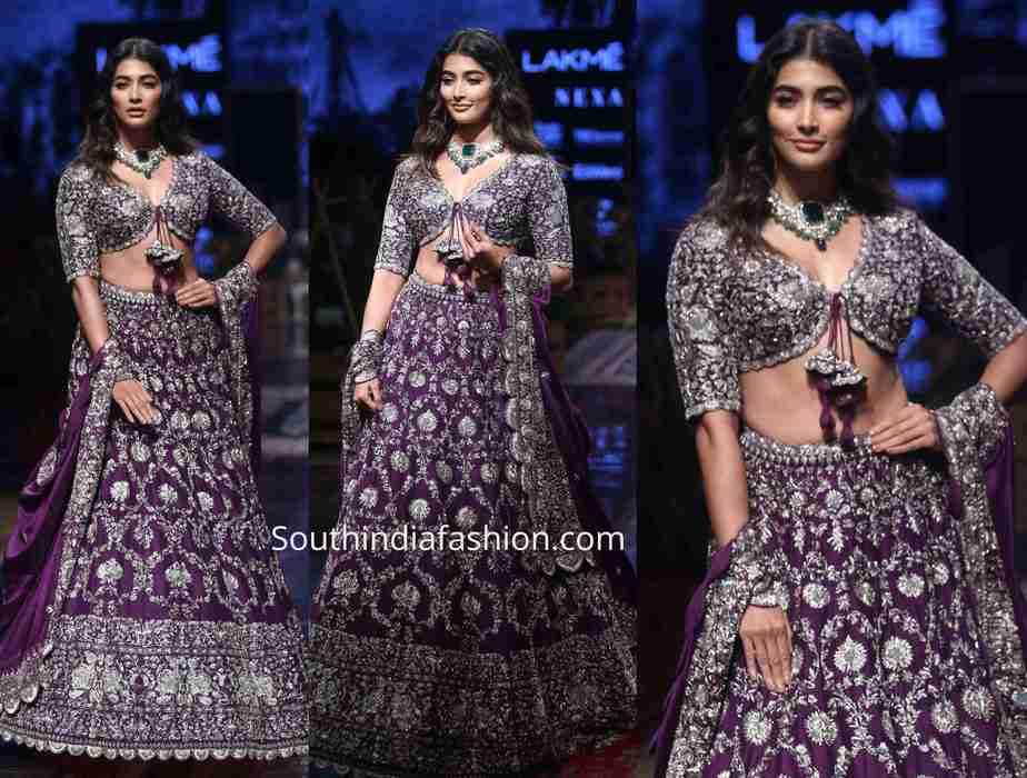 pooja hegde purple jayanti reddy lehenga lakme fashion week