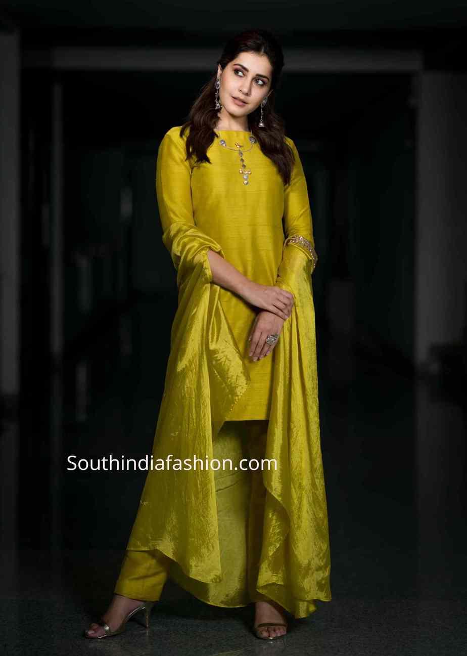 raashi khanna yellow salwar kameez kousalya krishnamurthy pre release (2)