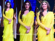 raveena tandon in yellow ruffle saree on nach baliye (1)