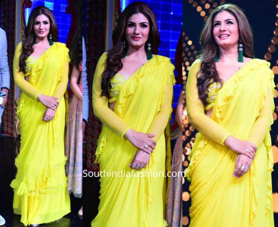 raveena tandon in yellow ruffle saree on nach baliye (1)