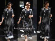 sara ali khan black striped dress
