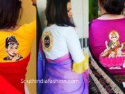 saree blouse designs with back side goddess motifs
