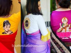 saree blouse designs with back side goddess motifs
