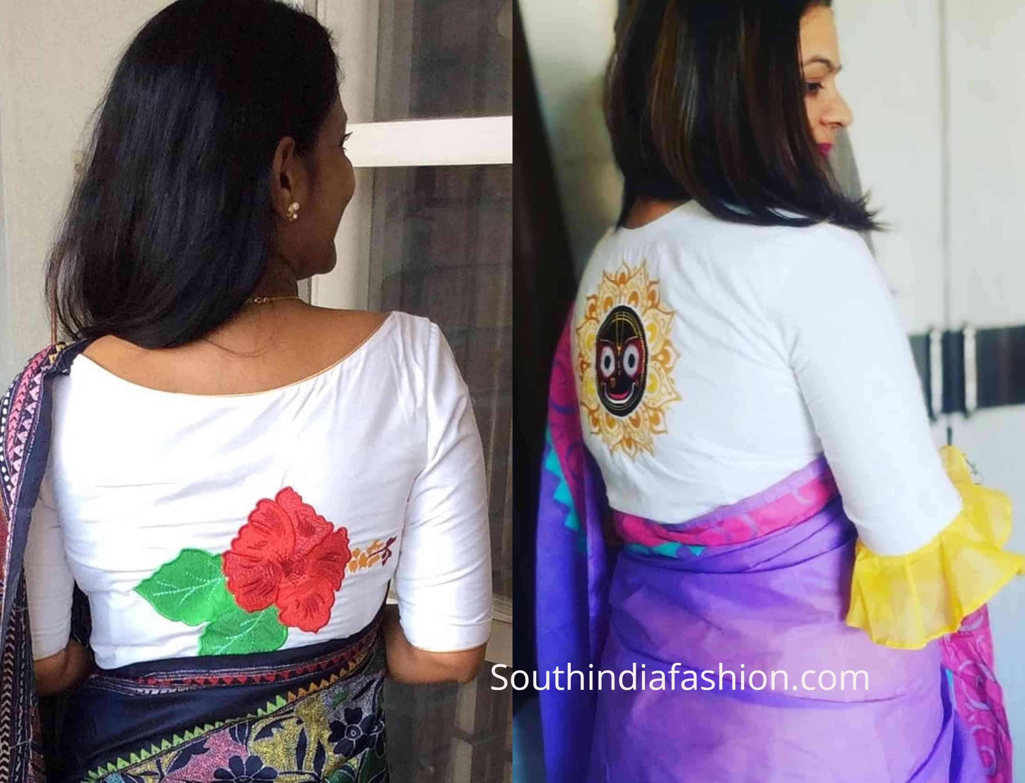 saree blouse with back patch work