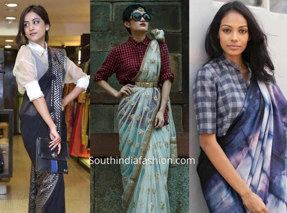 saree with shirt blouse