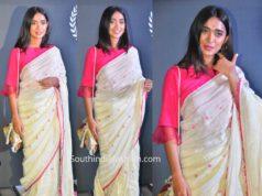 sayani gupta in linen saree
