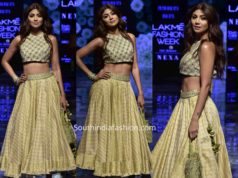 shilpa shetty green lehenga, punit balana, lakme fashion week