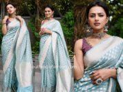 shraddha srinath blue banarasi silk saree