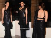 karishma kapoor black manish malhotra saree at lakme fashion week