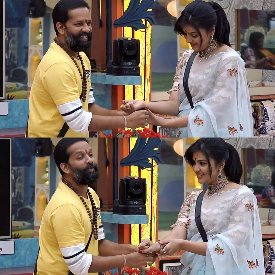 sreemukhi blue saree bigg boss rakhi episode (3)