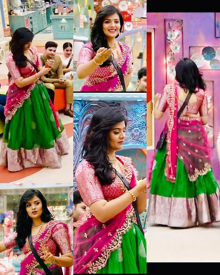 Sreemukhi In A Traditional Half Saree South India Fashion