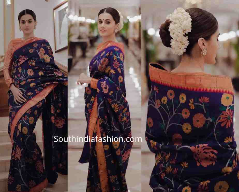 taapsee pannu blue paithani saree ission mangal promotions