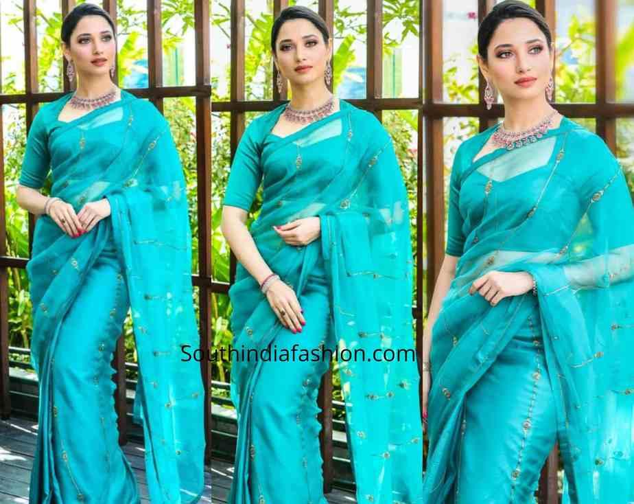 tamannaah bhatia blue saree malabar gold and diamonds launch
