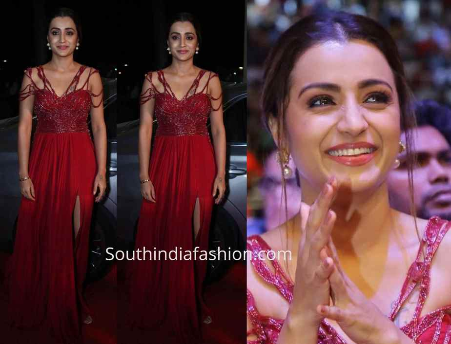 trisha krishnan red gown siima awards 2019