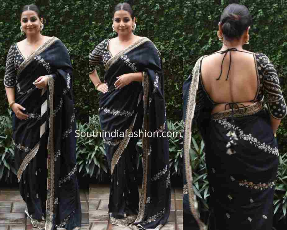 vidya balan black saree backless blouse