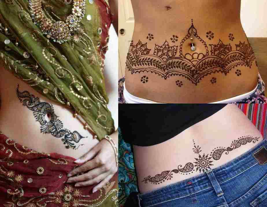 waist mehndi designs
