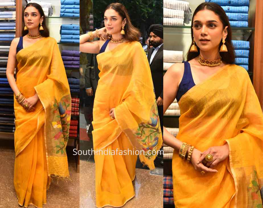 ADITI RAO HYDARI YELLOW LINEN SAREE