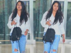 anushka shetty snapped at hyderabad airport