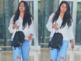 anushka shetty snapped at hyderabad airport