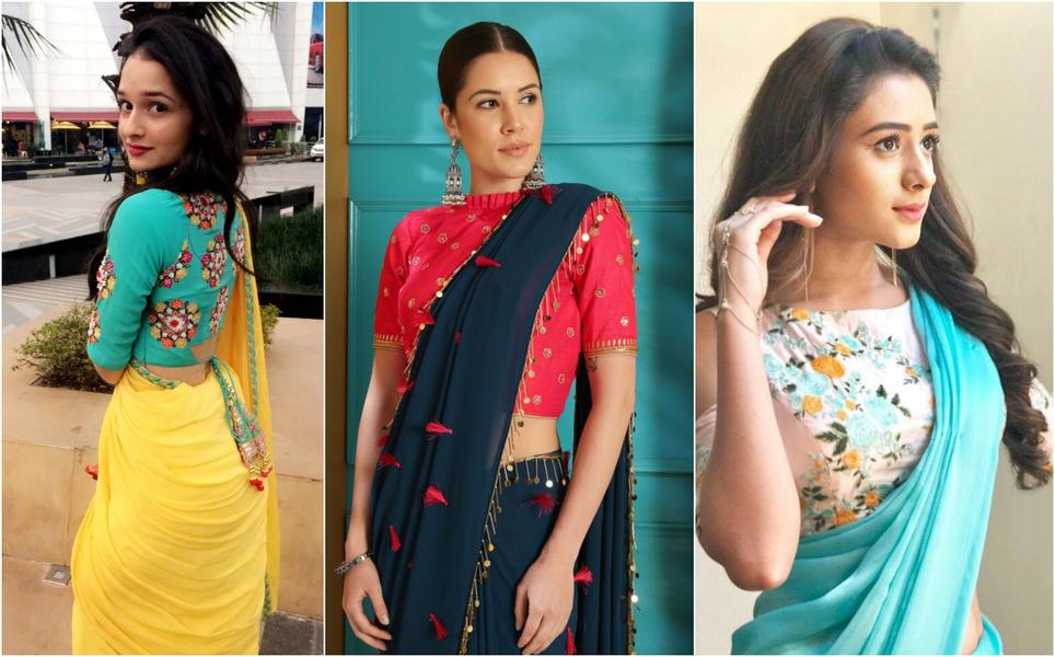 plain saree with designer choli