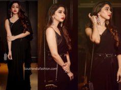 aarti ravi black ruffle saree by sabyasachi