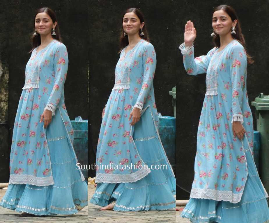 alia bhatt blue kurta lehenga