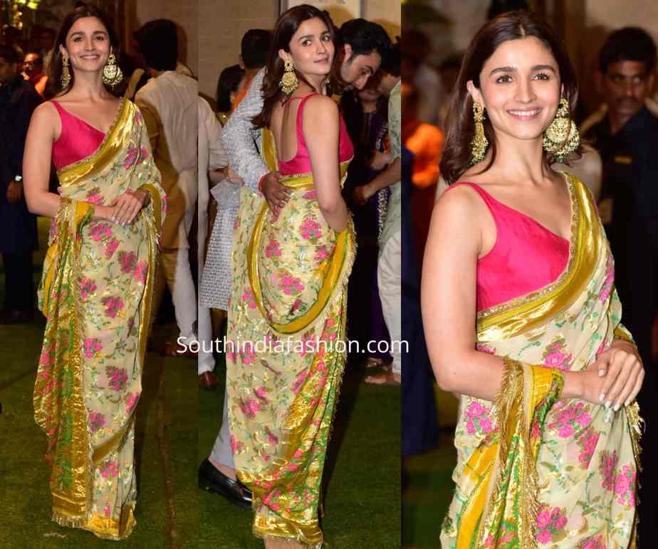 alia bhatt in manish malhotra saree at ambani ganesh chaturthi celebrations