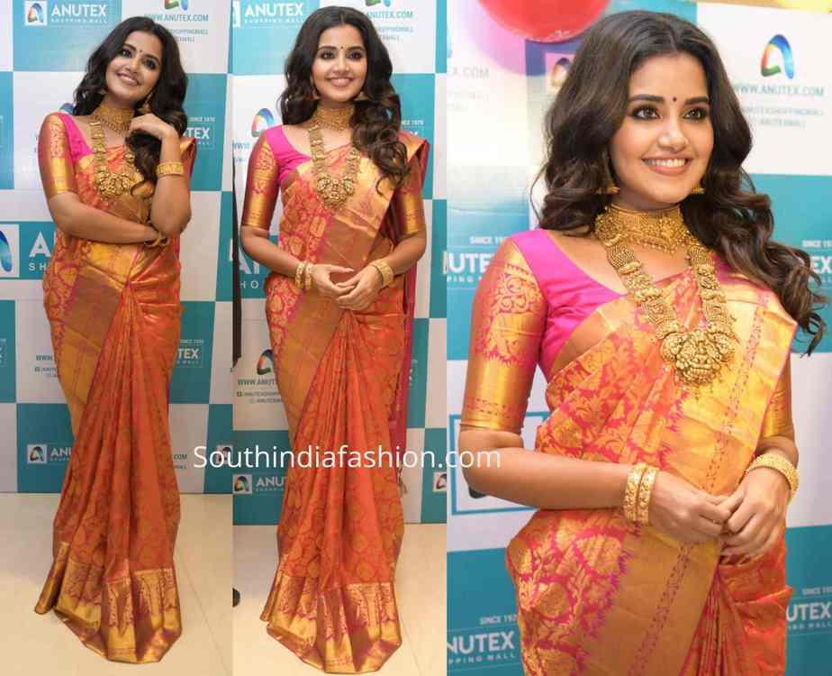 anupama parameswaran pink and gold kanjeevaram saree at anutex shopping mall launch